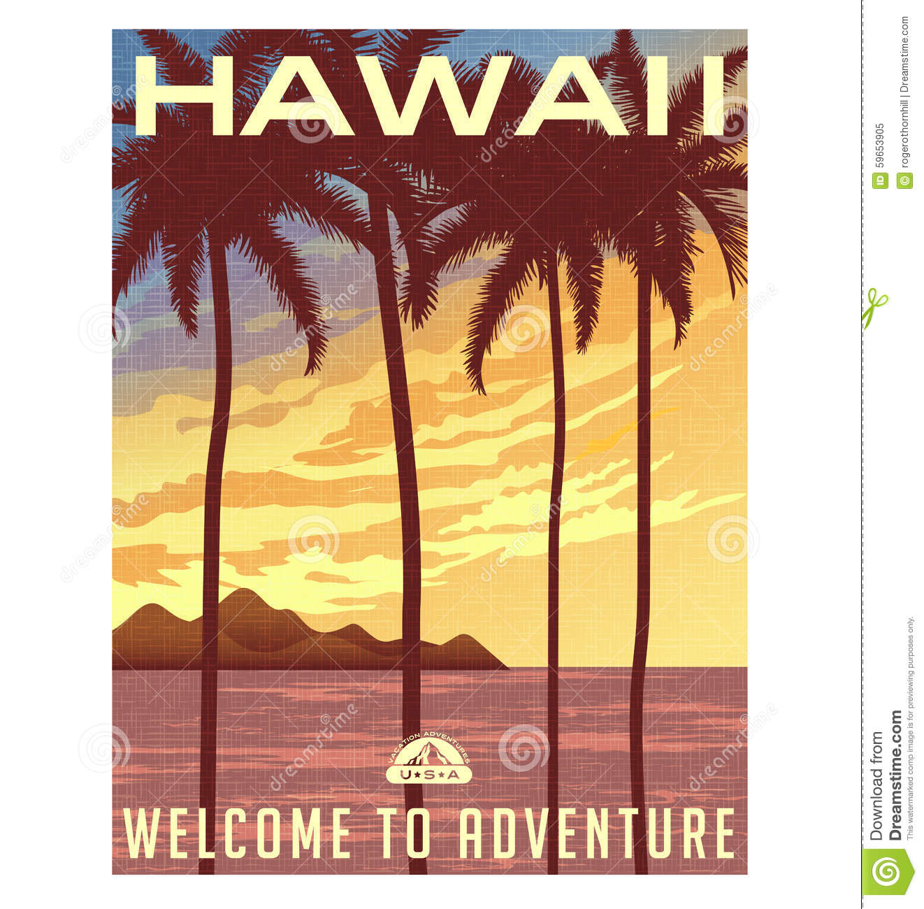 Retro Style Travel Poster Or Sticker Hawaii Stock Vector