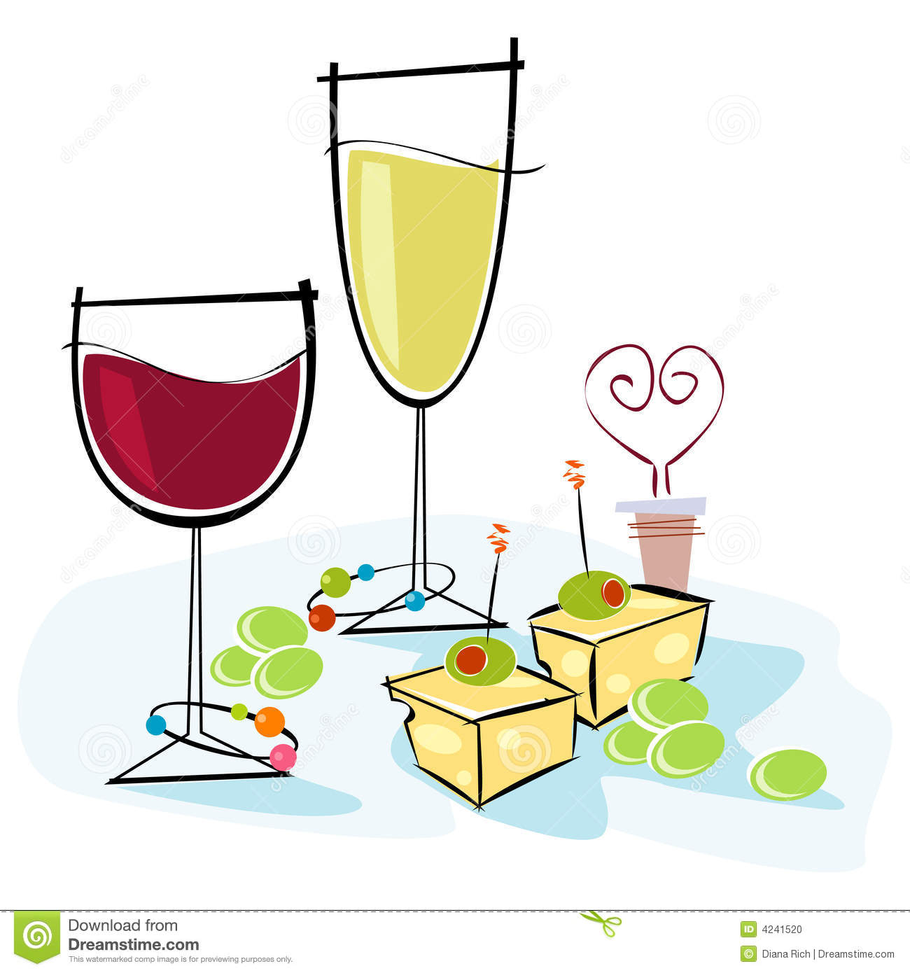 Wine Party Clip Art Stock photo: retro-style wine
