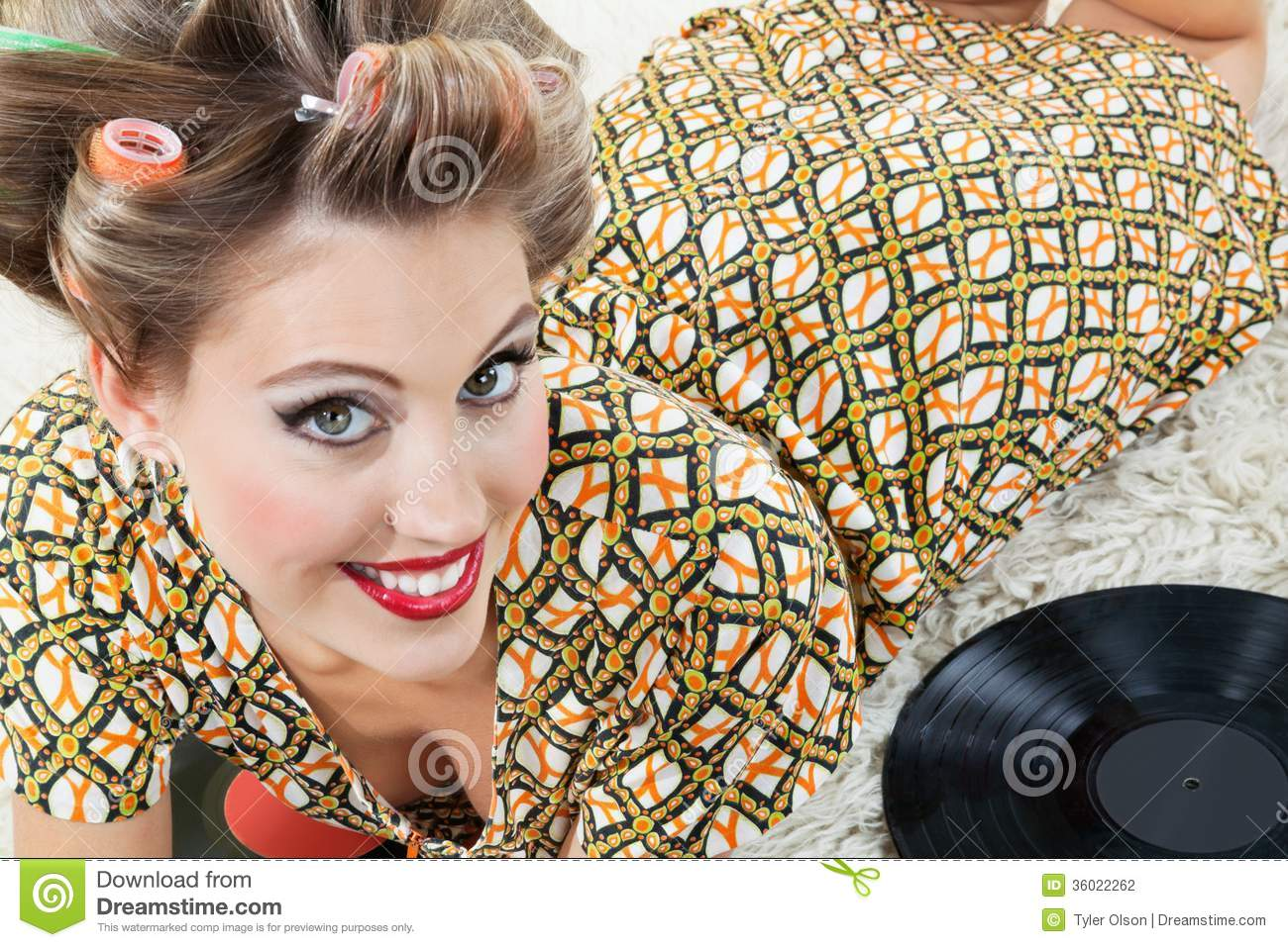 Retro Style Woman Lying On Rug Stock Photography Image