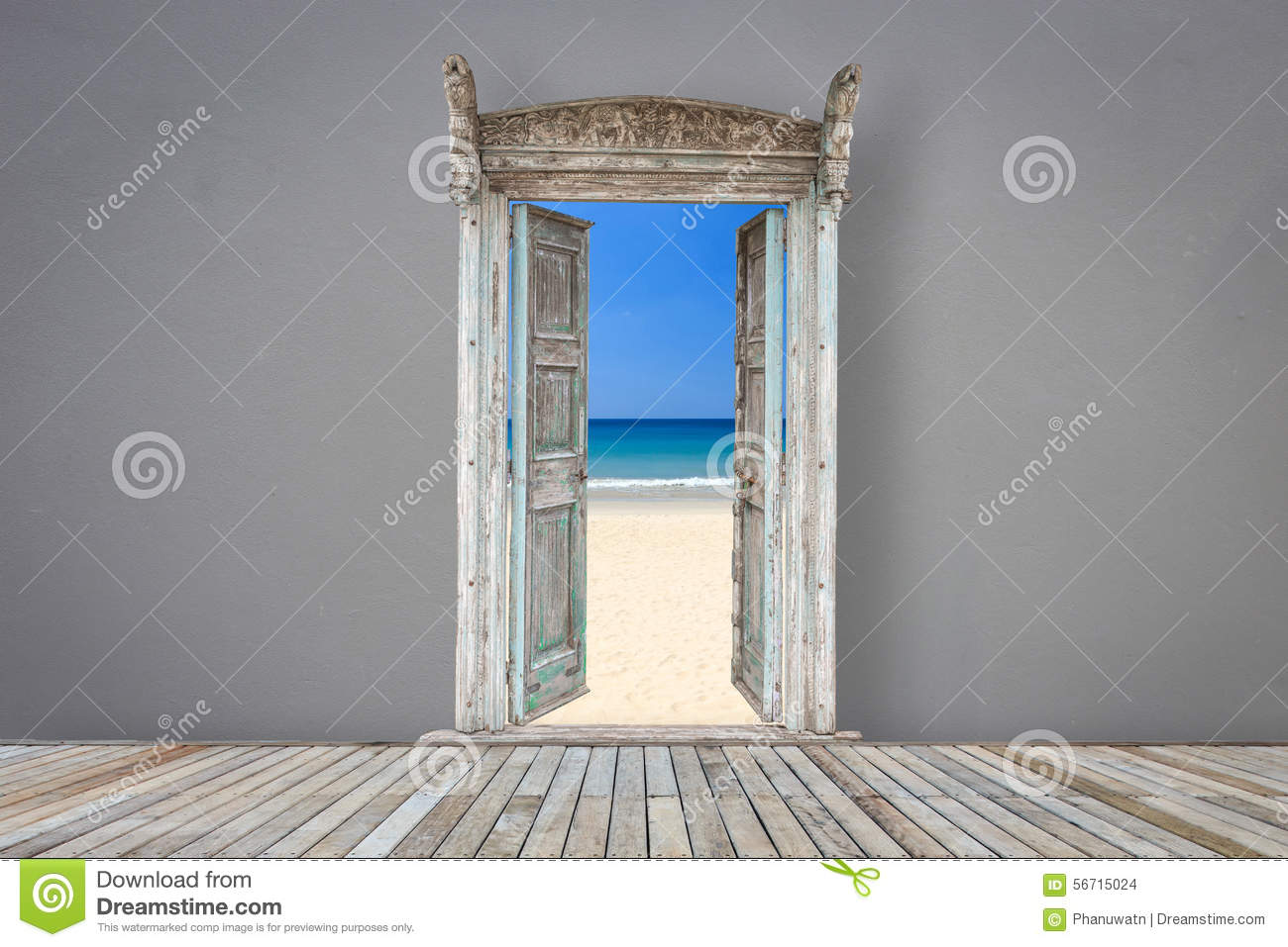 Retro style wooden door in grey color room opened to the beach & Retro Style Wooden Door In Grey Color Room Opened To The Beach ... pezcame.com