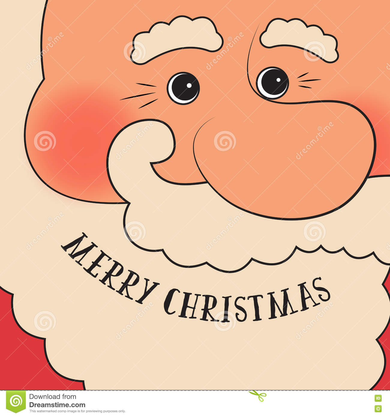 Retro Styled Christmas Card With Santa Claus - Template With Copy ...
