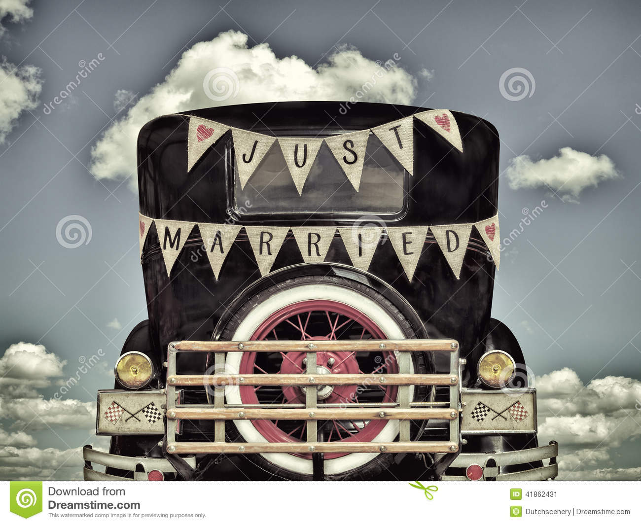 Retro Styled Image Of An Old Car With Just Married