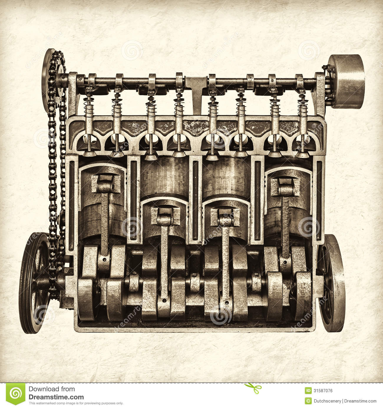 Retro Styled Image Of An Old Classic Car Engine Stock Photo - Image ...