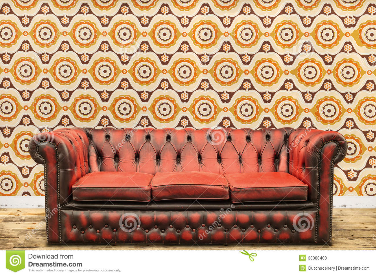 Retro Styled Image Of An Old Sofa Against A Vintage Wallpaper Wa