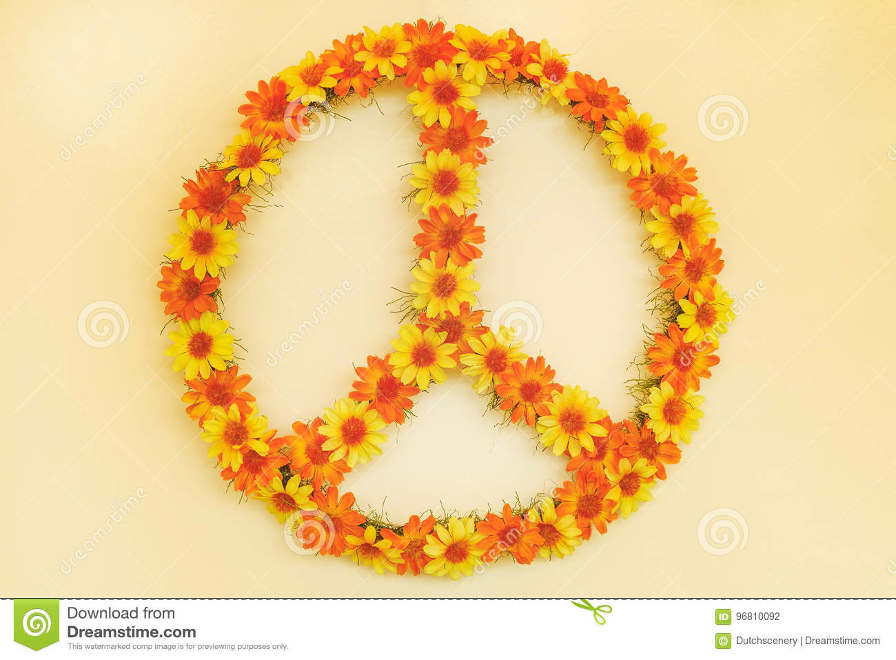 Retro Styled Image Of A Seventies Flower Power Peace Sign Stock
