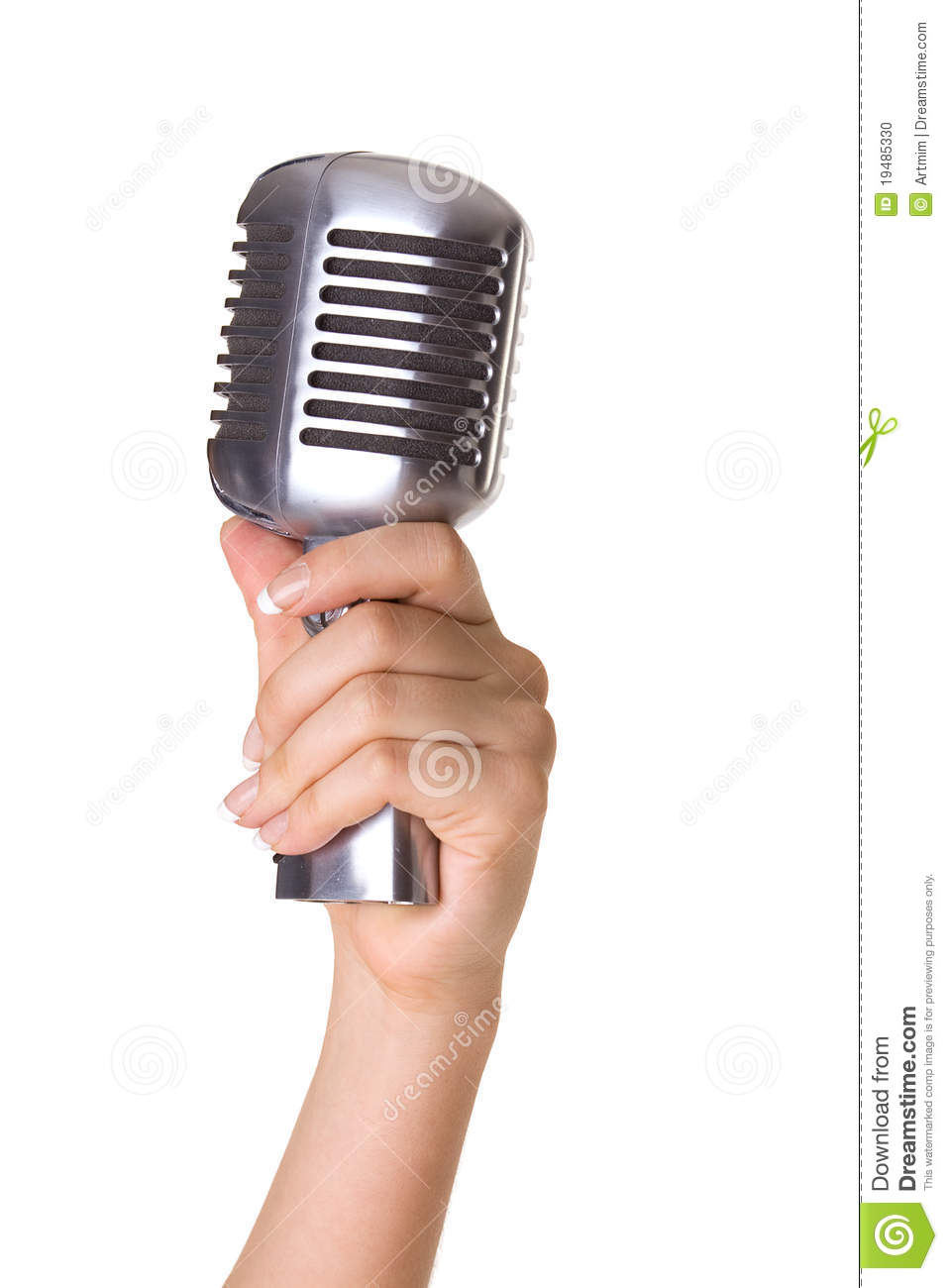 Microphone In Hand : Retro styled microphone in hand stock photo image
