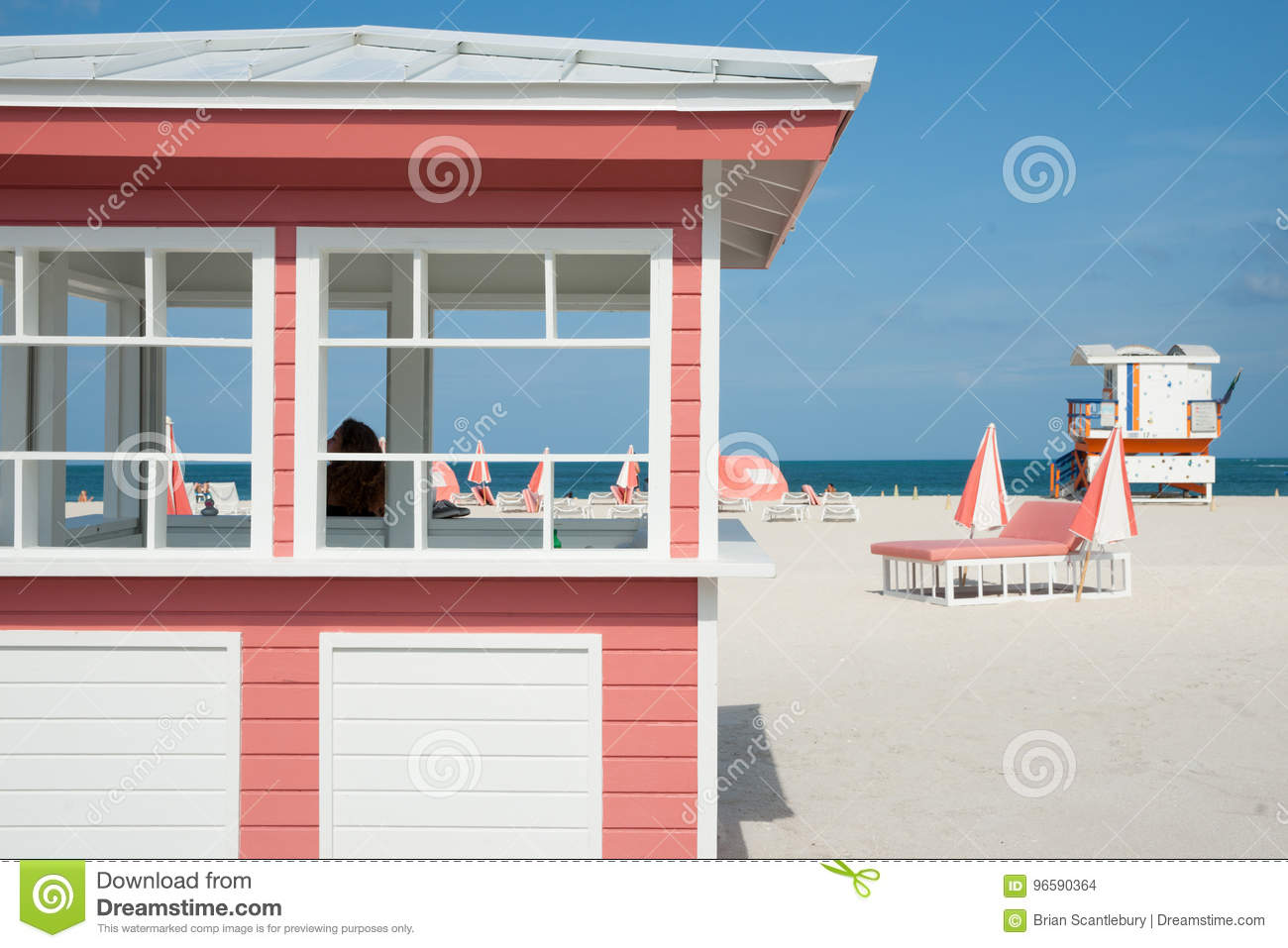 Retro Styled Pink And White Timber Kiosk On Beach At Miami With