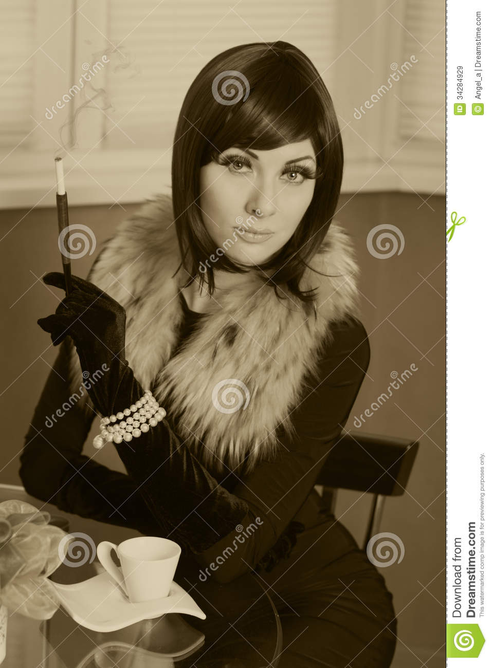 retro styled woman with cigar stock image image 34284929