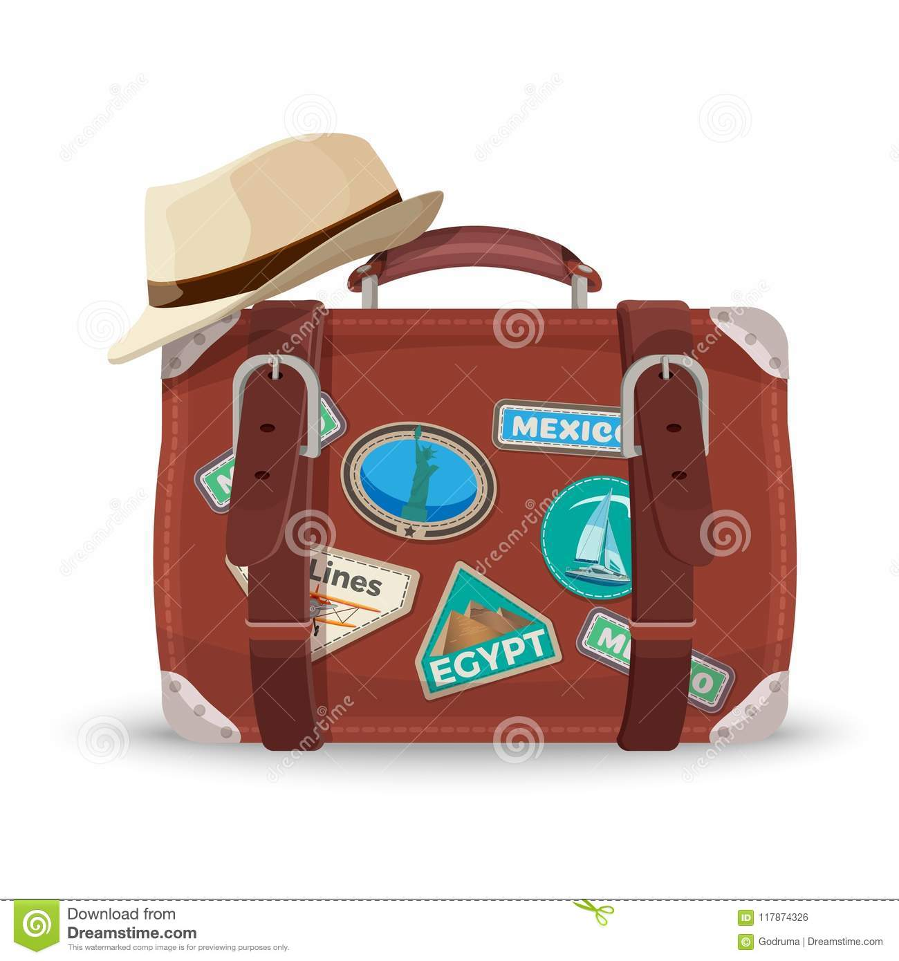 Retro Suitcase With Travel Stickers And Fedora Hat Stock Vector ... 89f851ac551