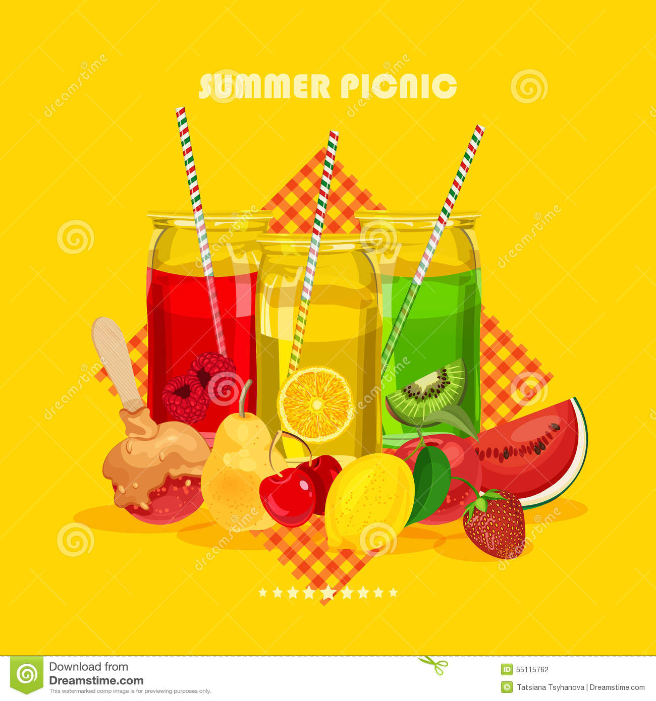 Retro Summer Party Design Poster With Juice Stock Vector ...
