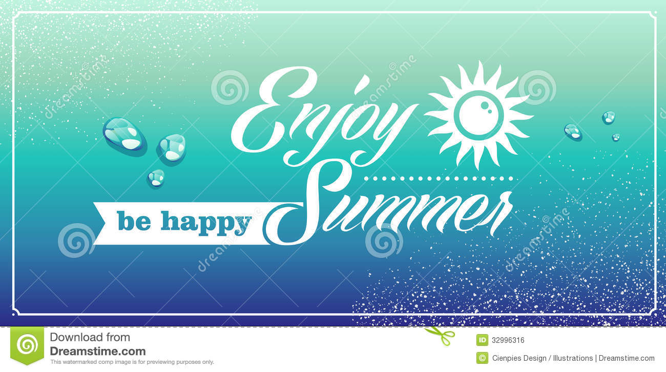 Happy Summer Holidays Background Vector: Retro Summertime Vacations Poster. Royalty Free Stock