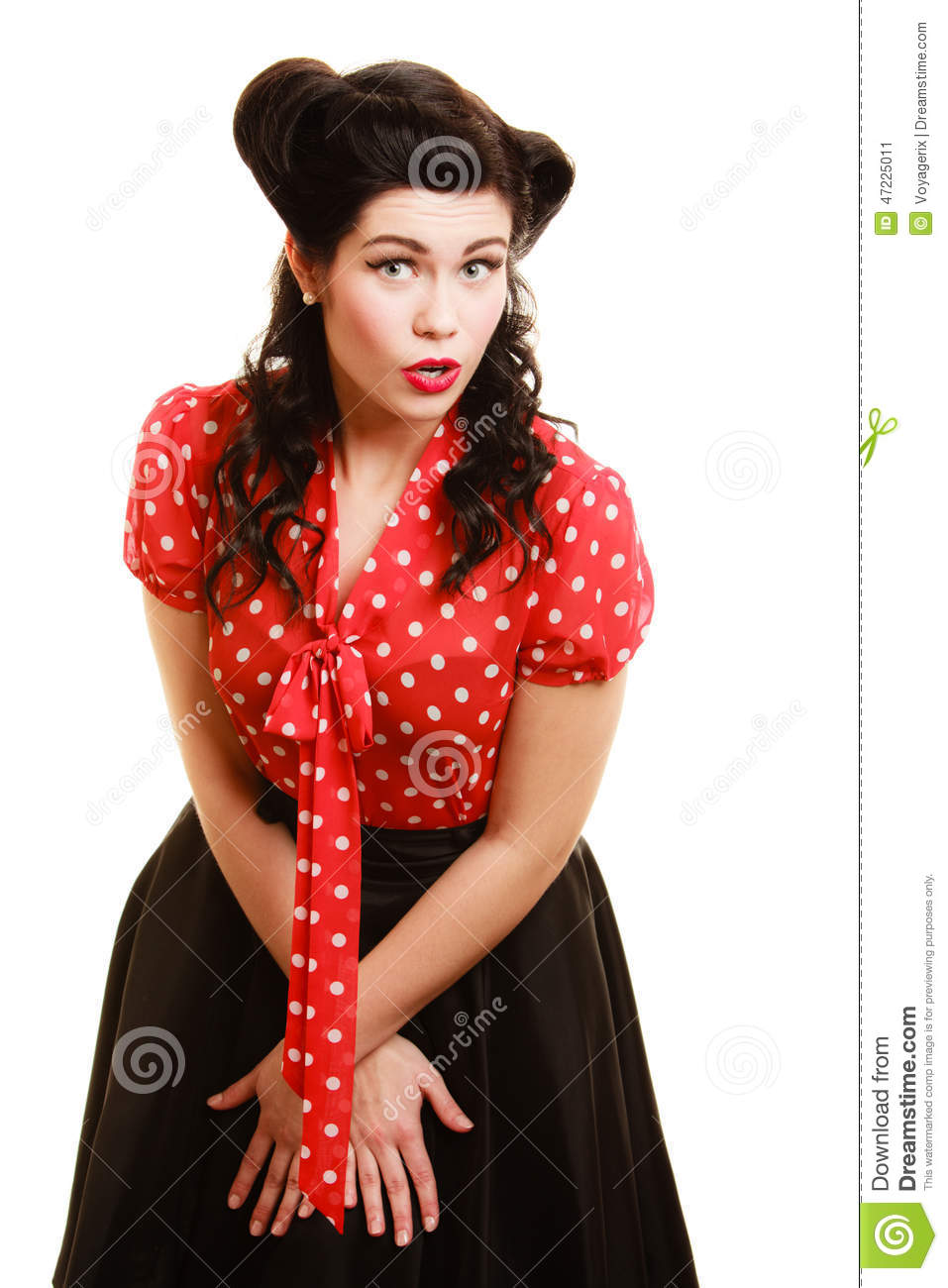 Pin Up Girl Vintage. Beautiful Woman Pinup Style Portrait