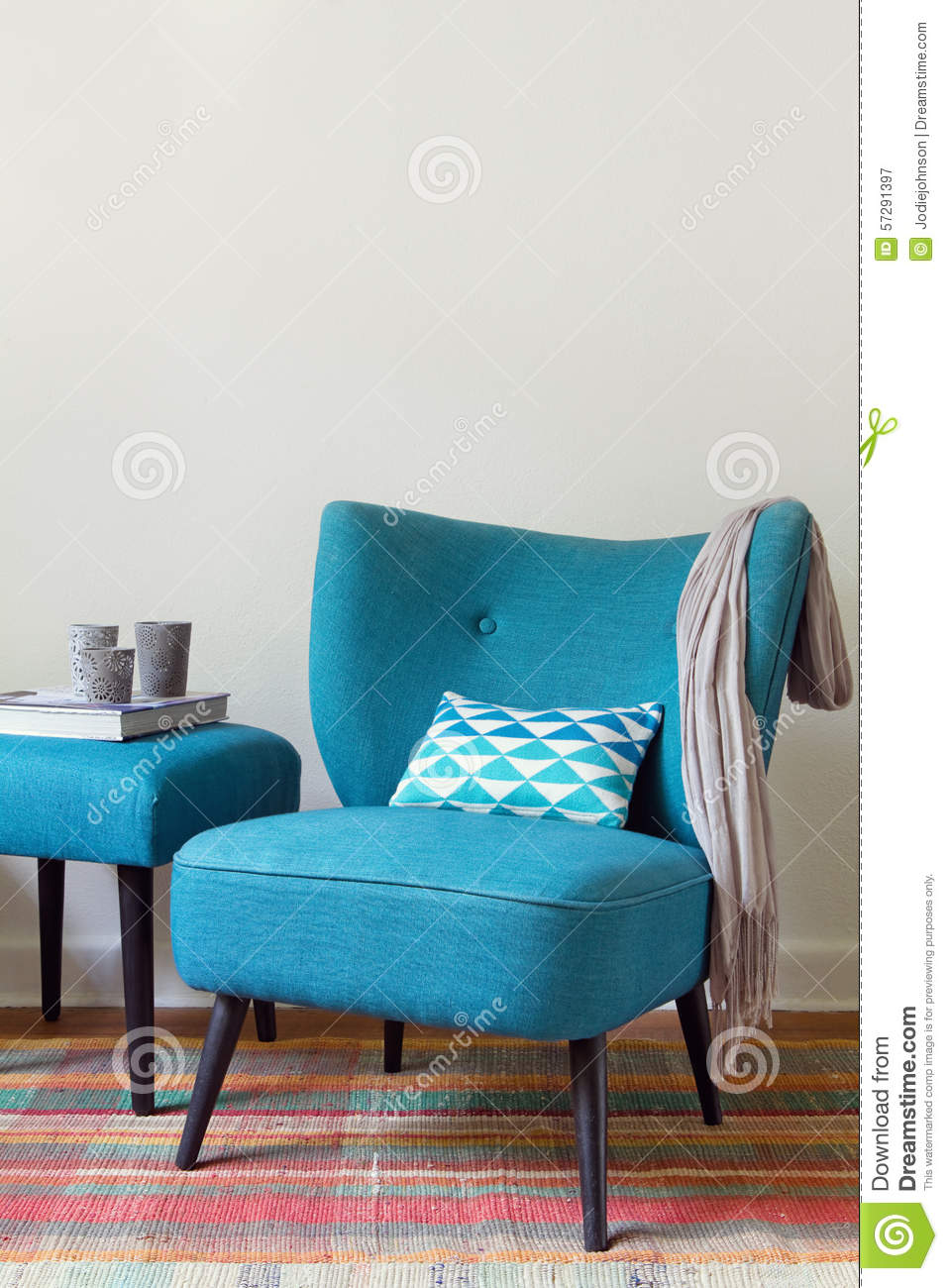 Retro Teal Armchair And Matching Ottoman With Decor