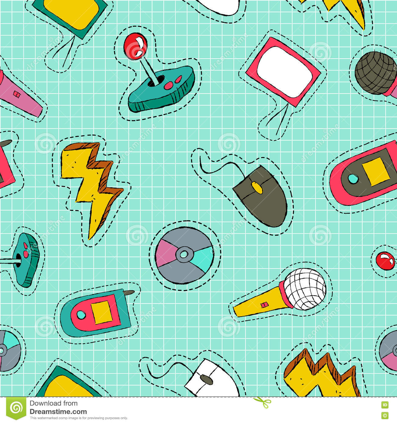 Retro Technology Patch Icon Seamless Pattern Stock Vector