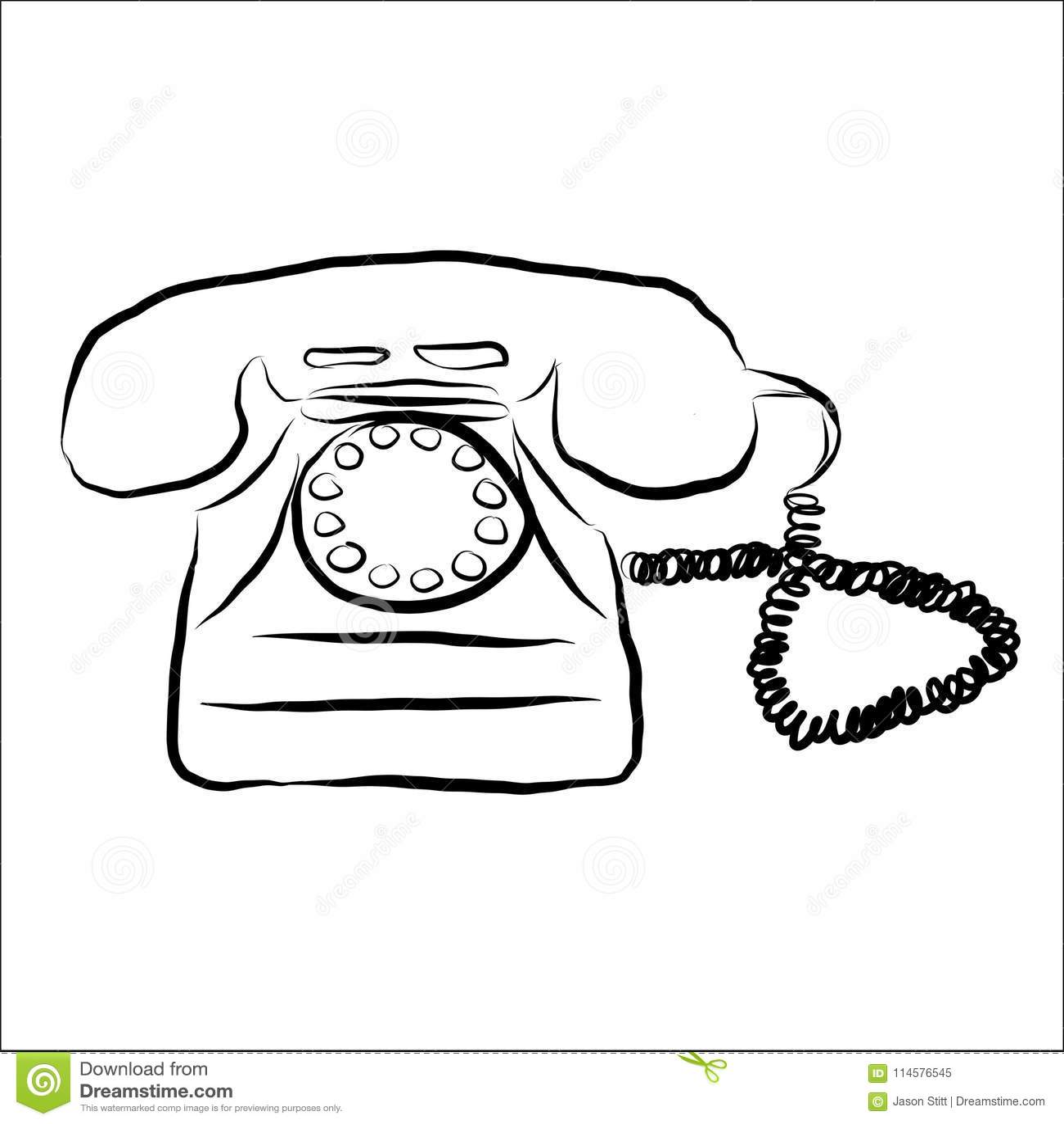 Retro- Telefon-Gekritzel