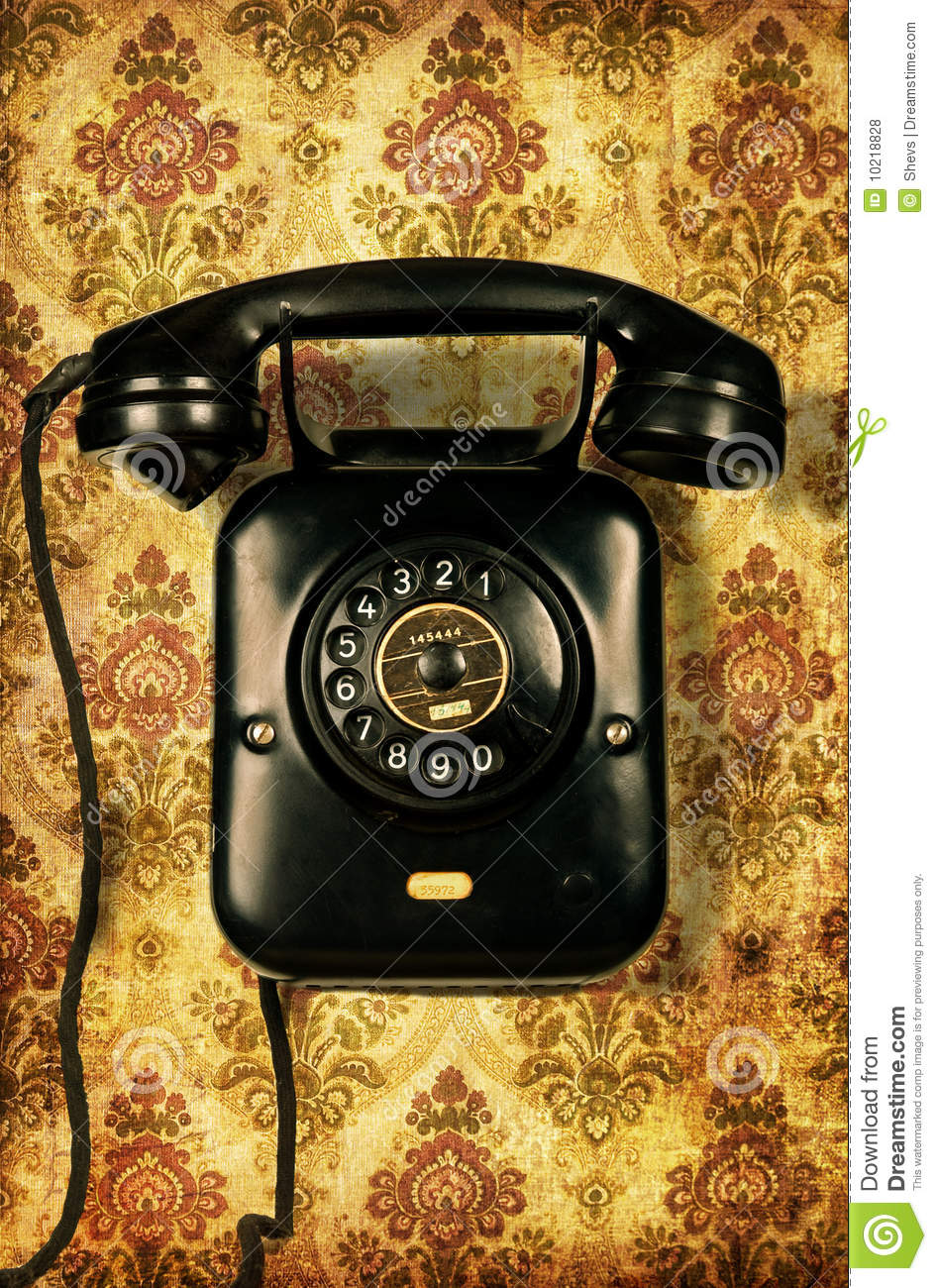 Retro Telephone On Vintage Wallpaper Stock Photo Image