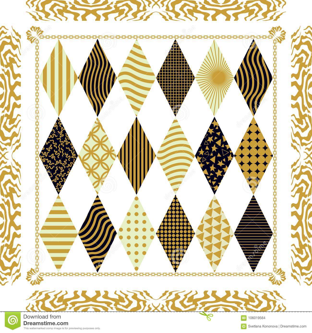 df90c958e34 White and golden silk scarf with linear geometric print and vintage frame.