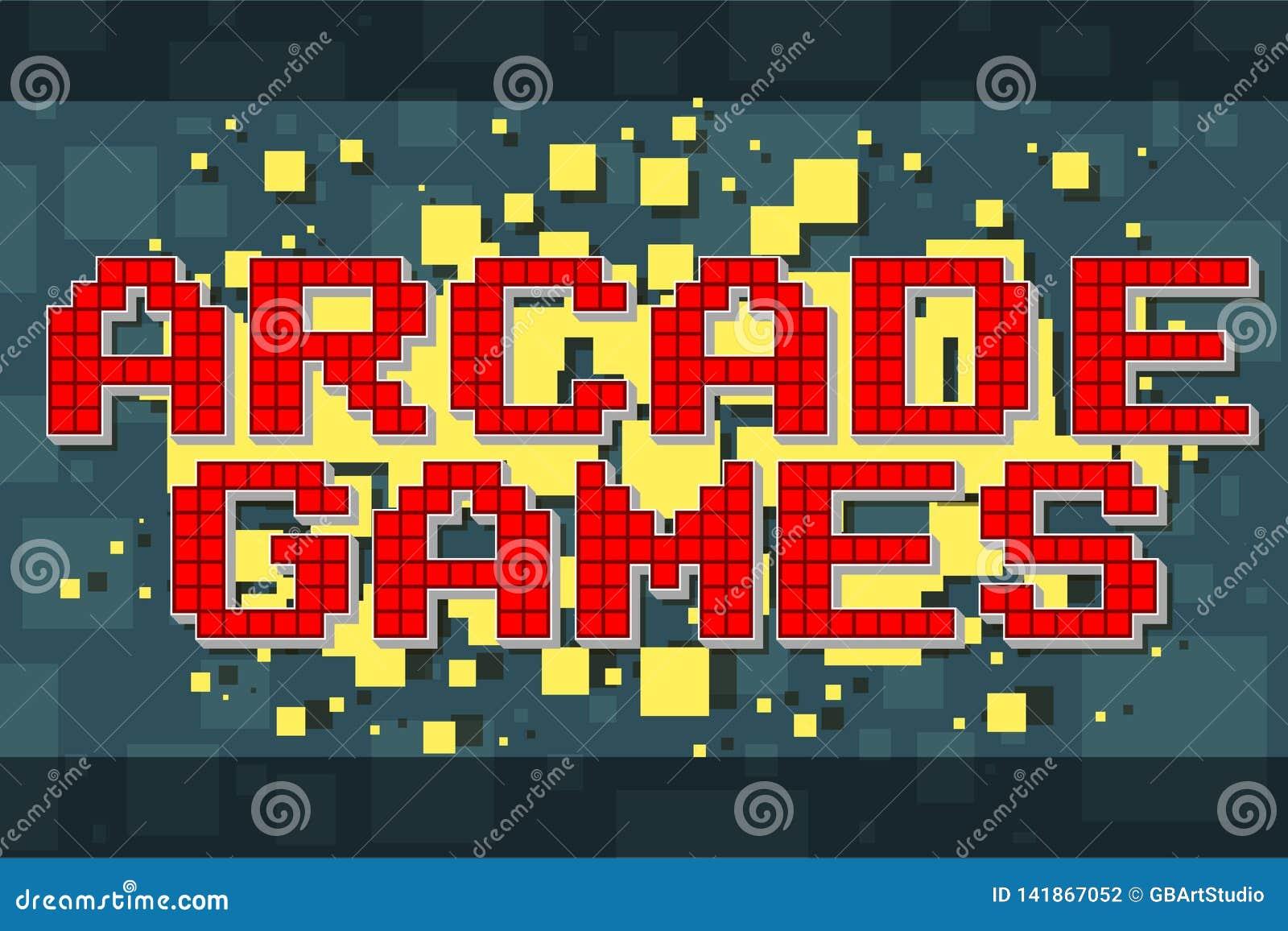 Retro textknapp för rött PIXEL för videospel