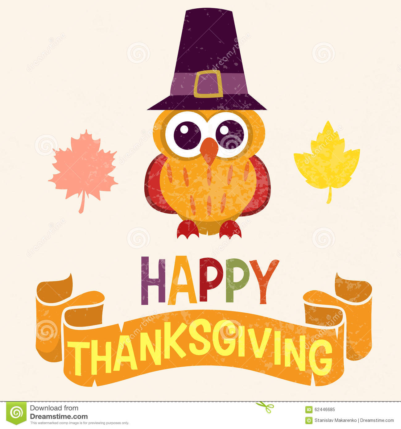 Retro Thanksgiving Day Card Design With Cute Little Owl In ...
