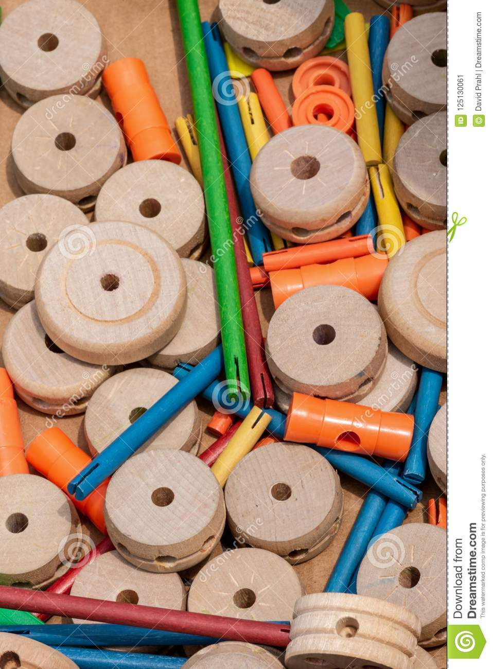 Retro Tinker Toys Parts In Box Stock Image Image Of Build Brained