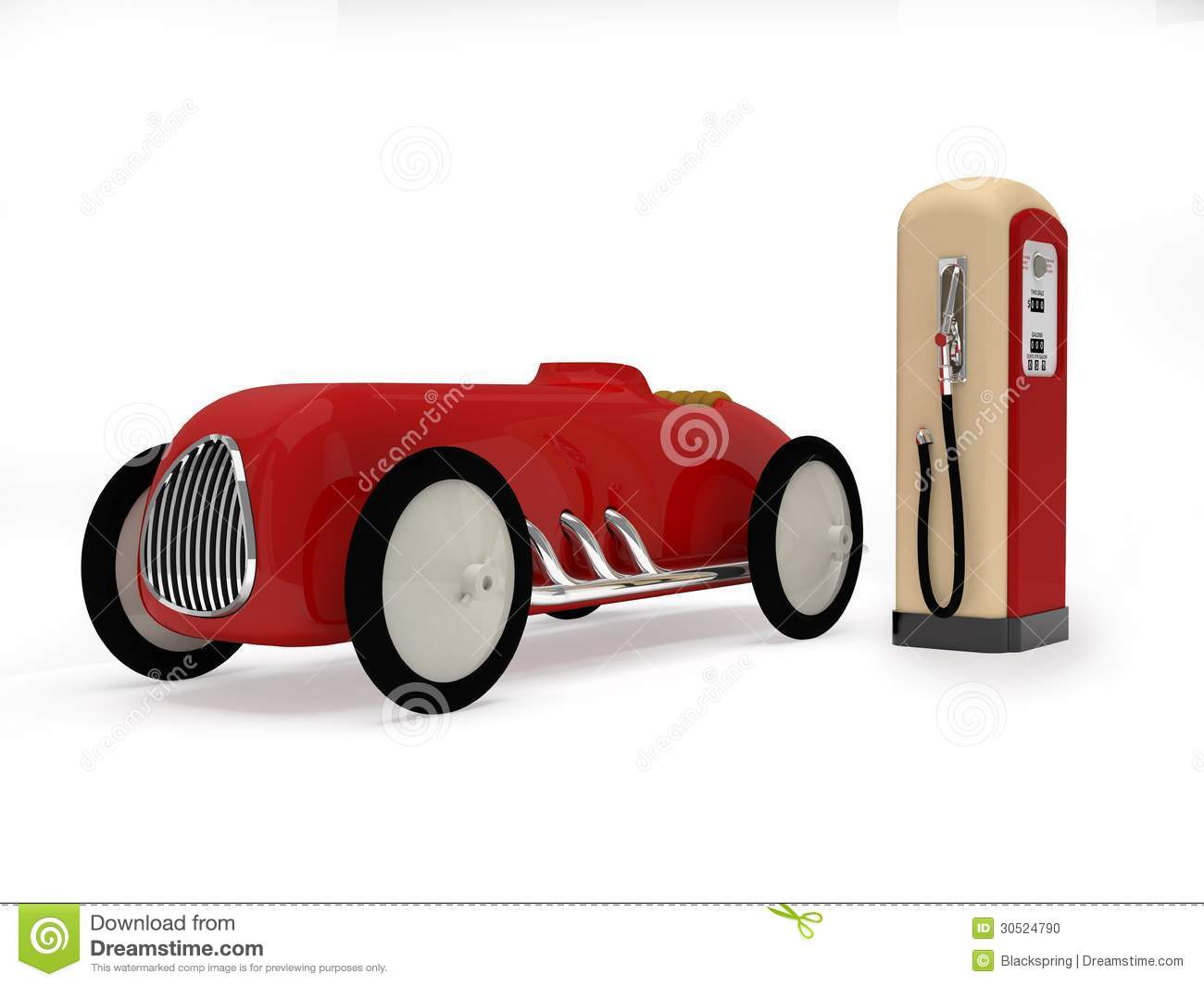 Retro Toy Car And Gas Station Stock Photo - Image: 30524790