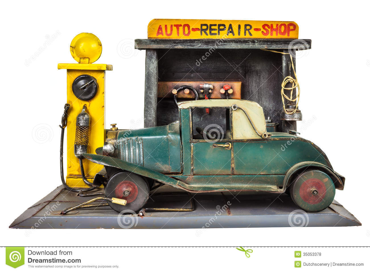 Retro Toy Car Repair Shop Isolated On White Stock Photo