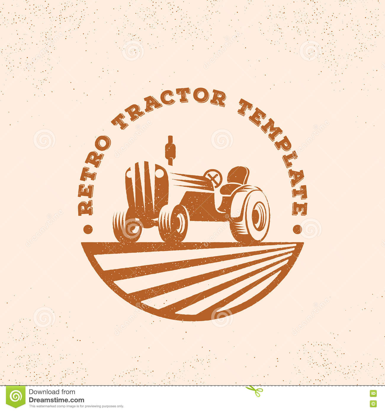 retro tractor silhouette vector logo or emblem template vintage