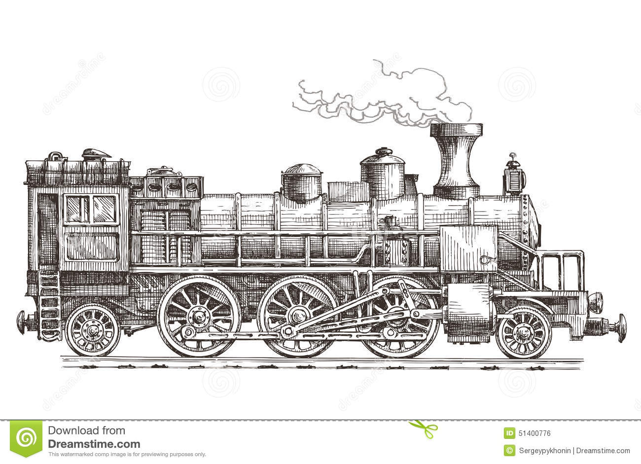 Line Art Train : Retro train on a white background stock illustration