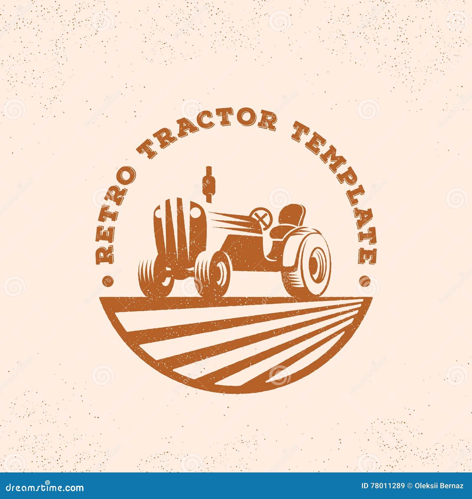 Retro Traktor Schattenbild Vektor Logo Oder Emblem Schablone