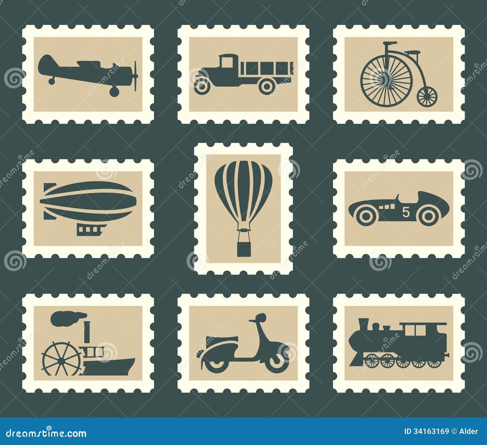 Download Retro transportation set stock vector. Illustration of pictogram - 34163169