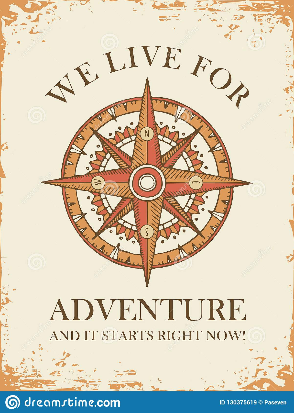 Retro Travel Banner With Wind Rose And Old Compass Stock