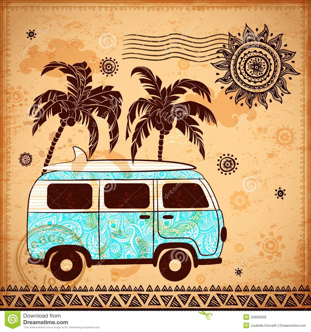 Retro travel bus with vintage background stock vector for Retro images
