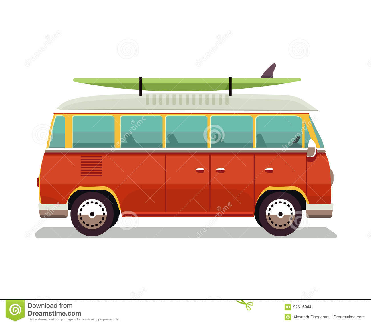 ad3984d722 Surfer van. Vintage travel car. Old classic camper minivan. Retro hippie  bus. Vector illustration in flat design isolated on white background