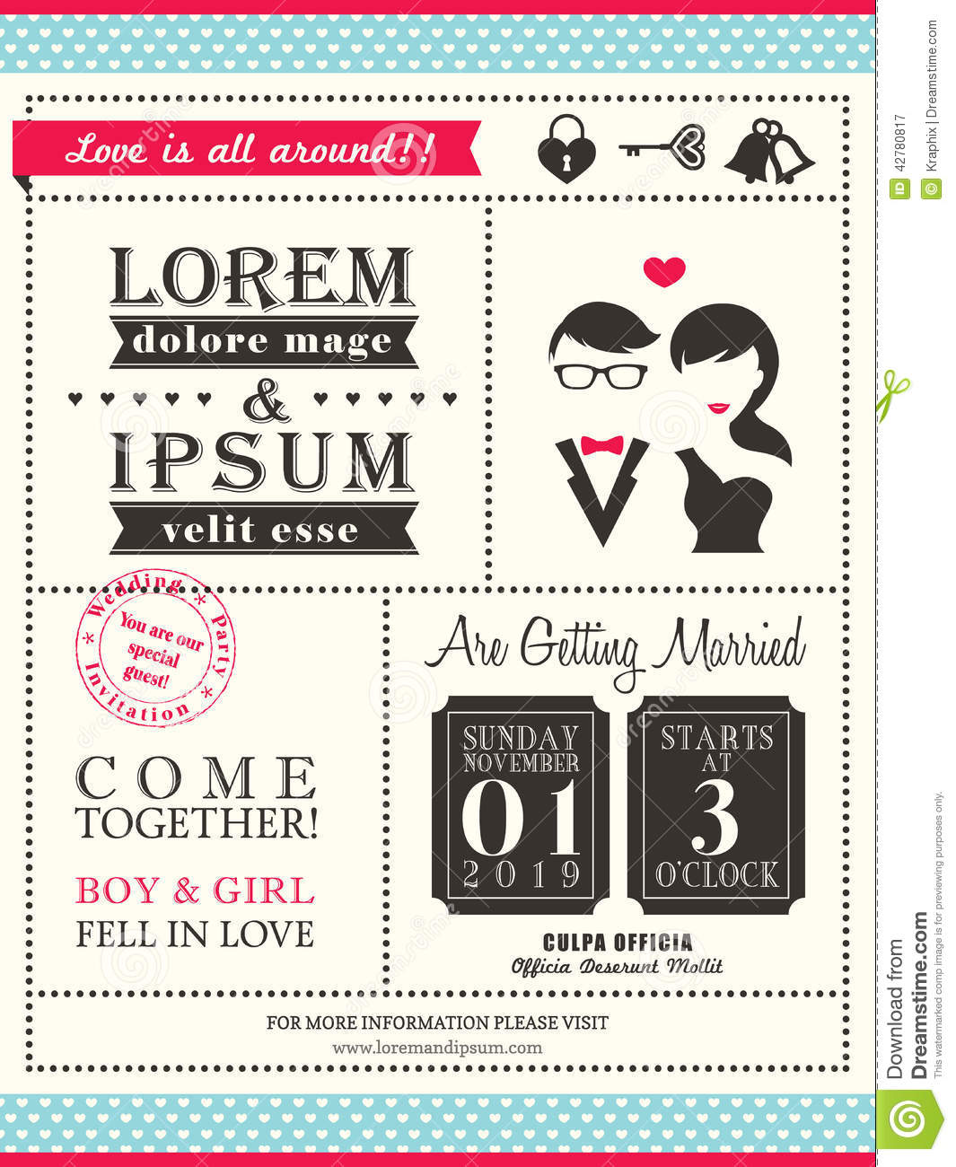 retro trendy wedding invitation card template stock vector
