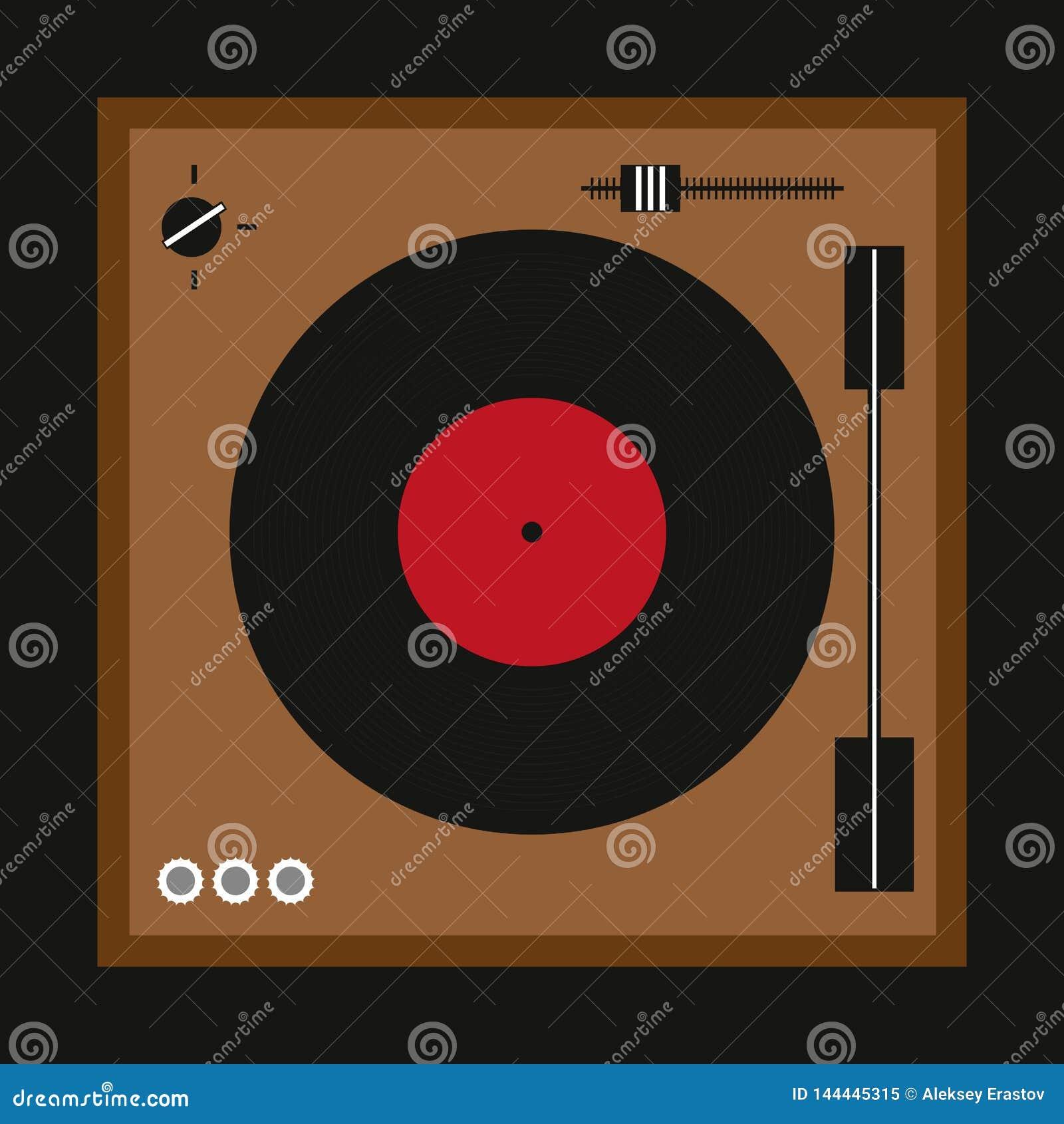 Retro turntable dla winylowych rejestrów Modnisia druk również zwrócić corel ilustracji wektora