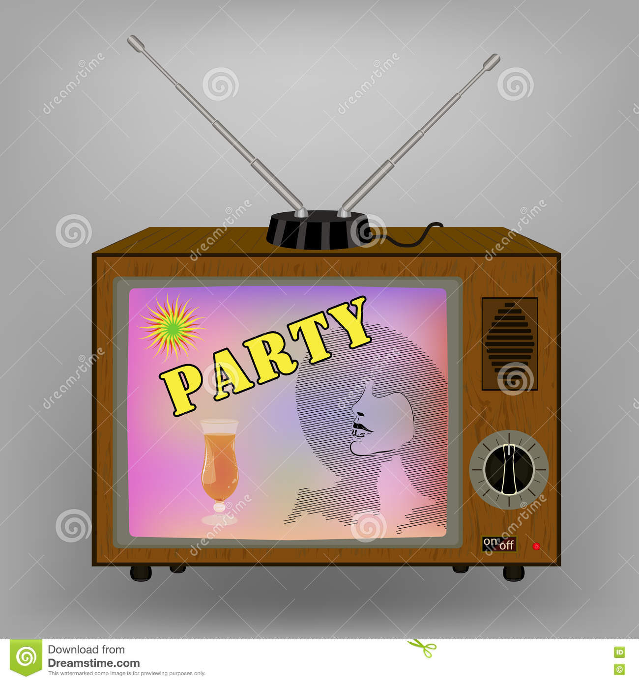 Retro Tv Advertising With A Cocktail Party On Tv Switches And Antenna Stock Vector Illustration Of Banner Program 75685582