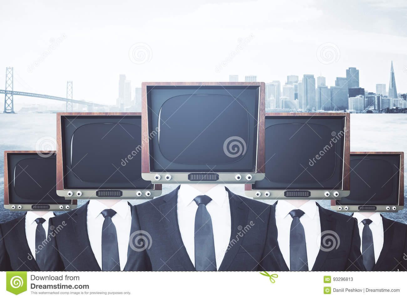 Retro TV headed businessmen