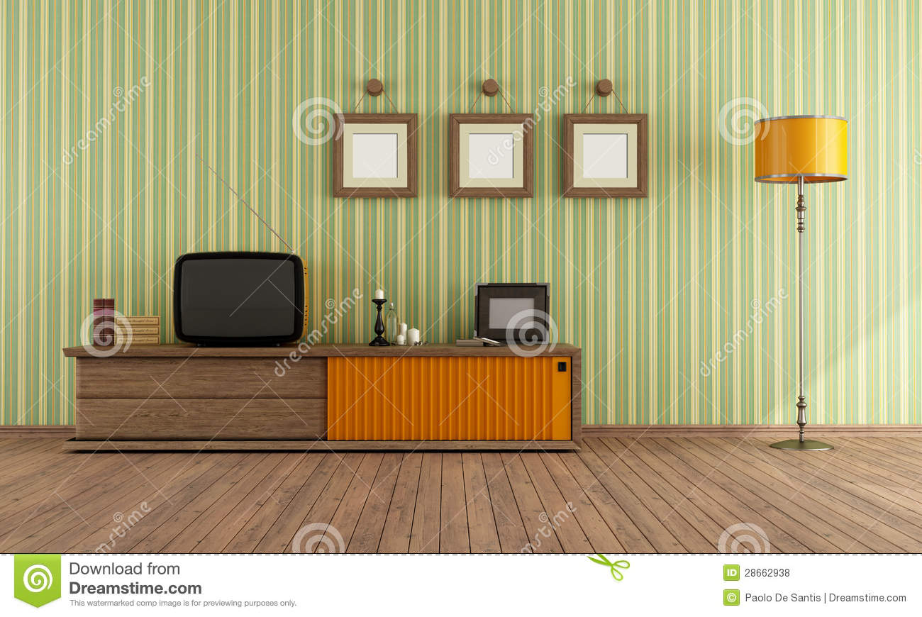 Vintage living room with retro TV - rendering.