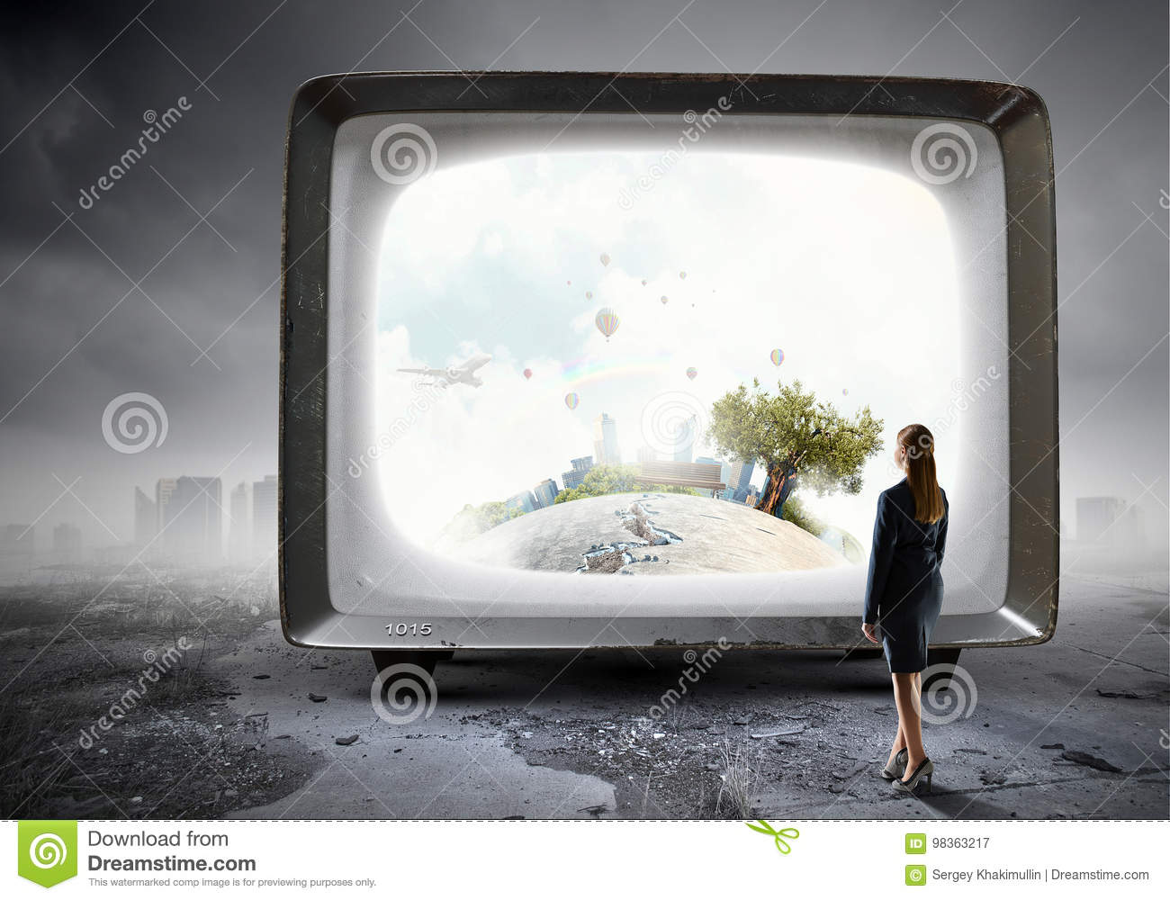 Retro TV Monitor. Mixed Media Stock Image - Image of channel ...