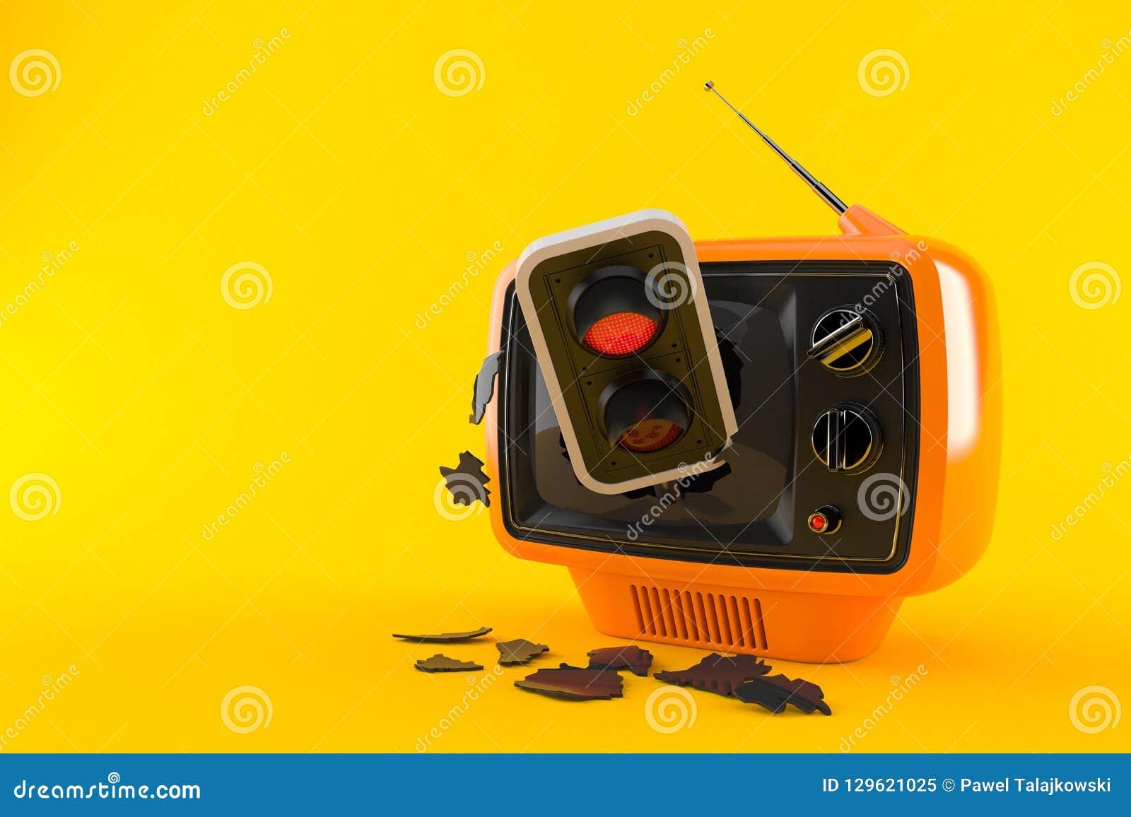 Retro TV with red traffic light
