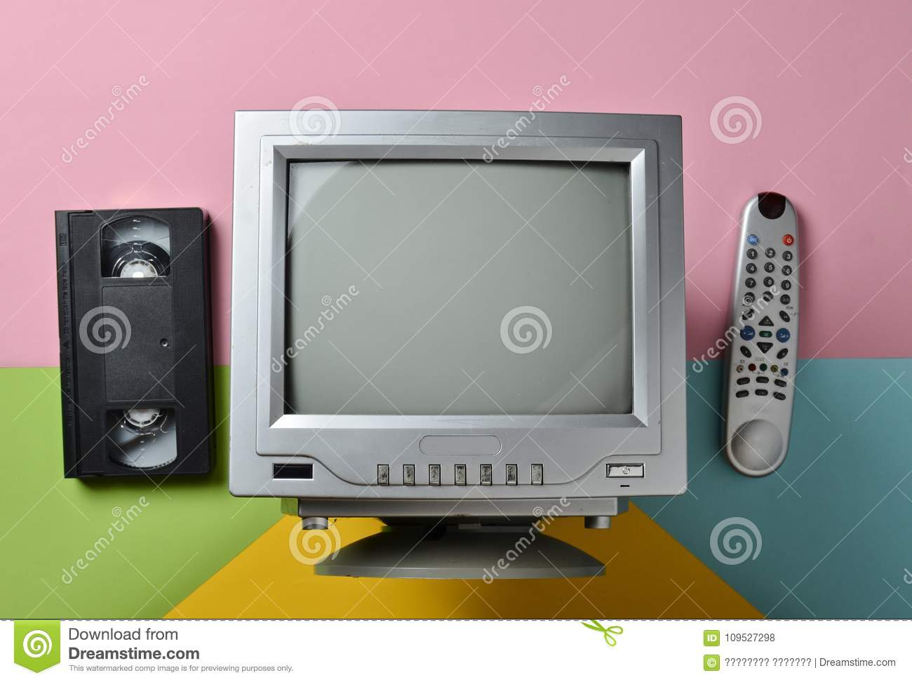 Retro Tv, Remote Controller, Vhs, On Pastel Background Stock Photo