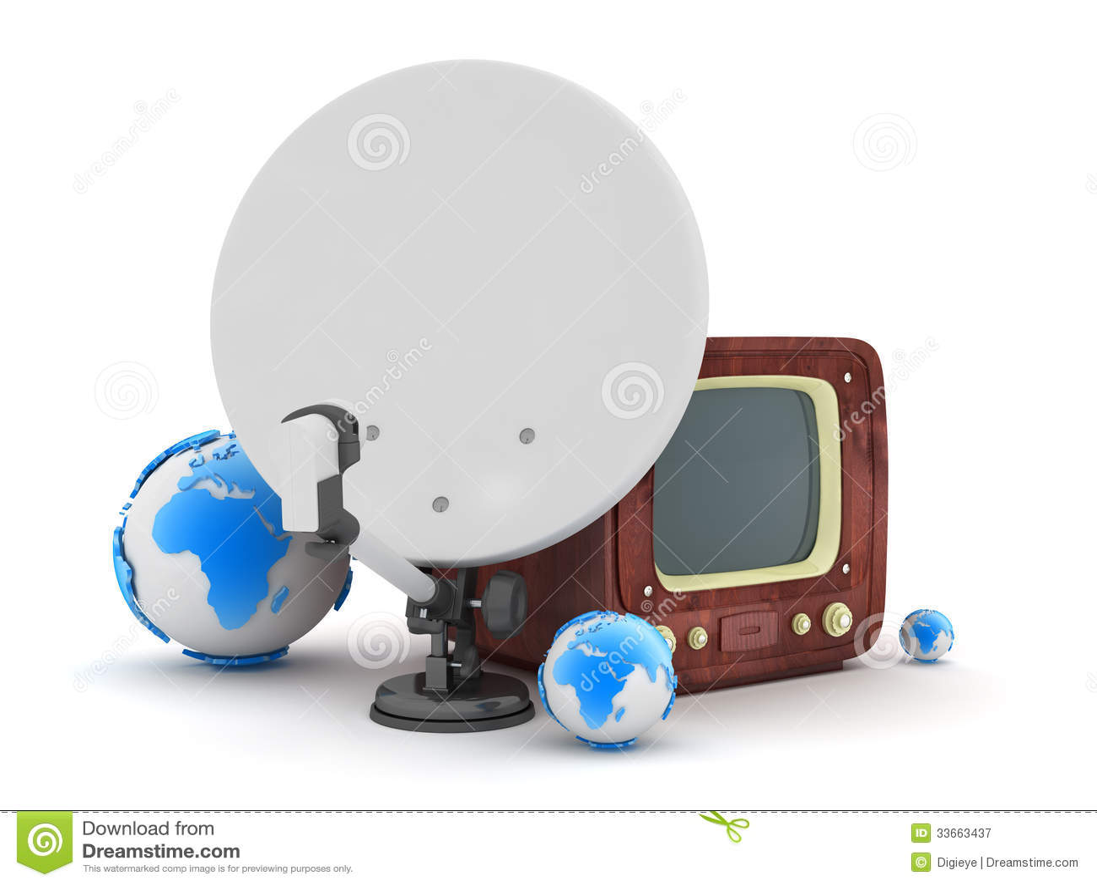 Dish tv on wood royalty free stock photo cartoondealer - Antena satelite interior ...