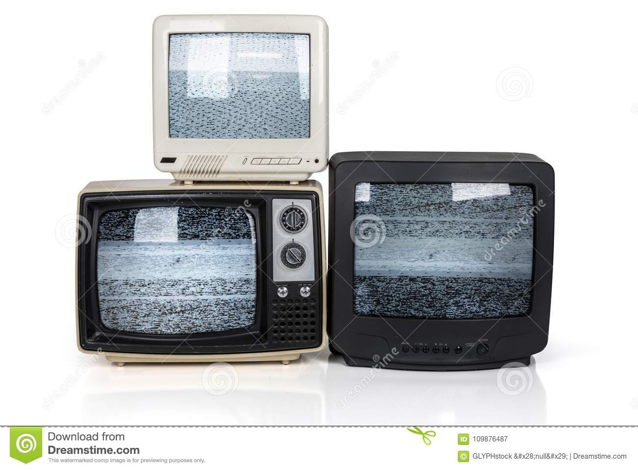 retro tv stack with static screens stock image image of