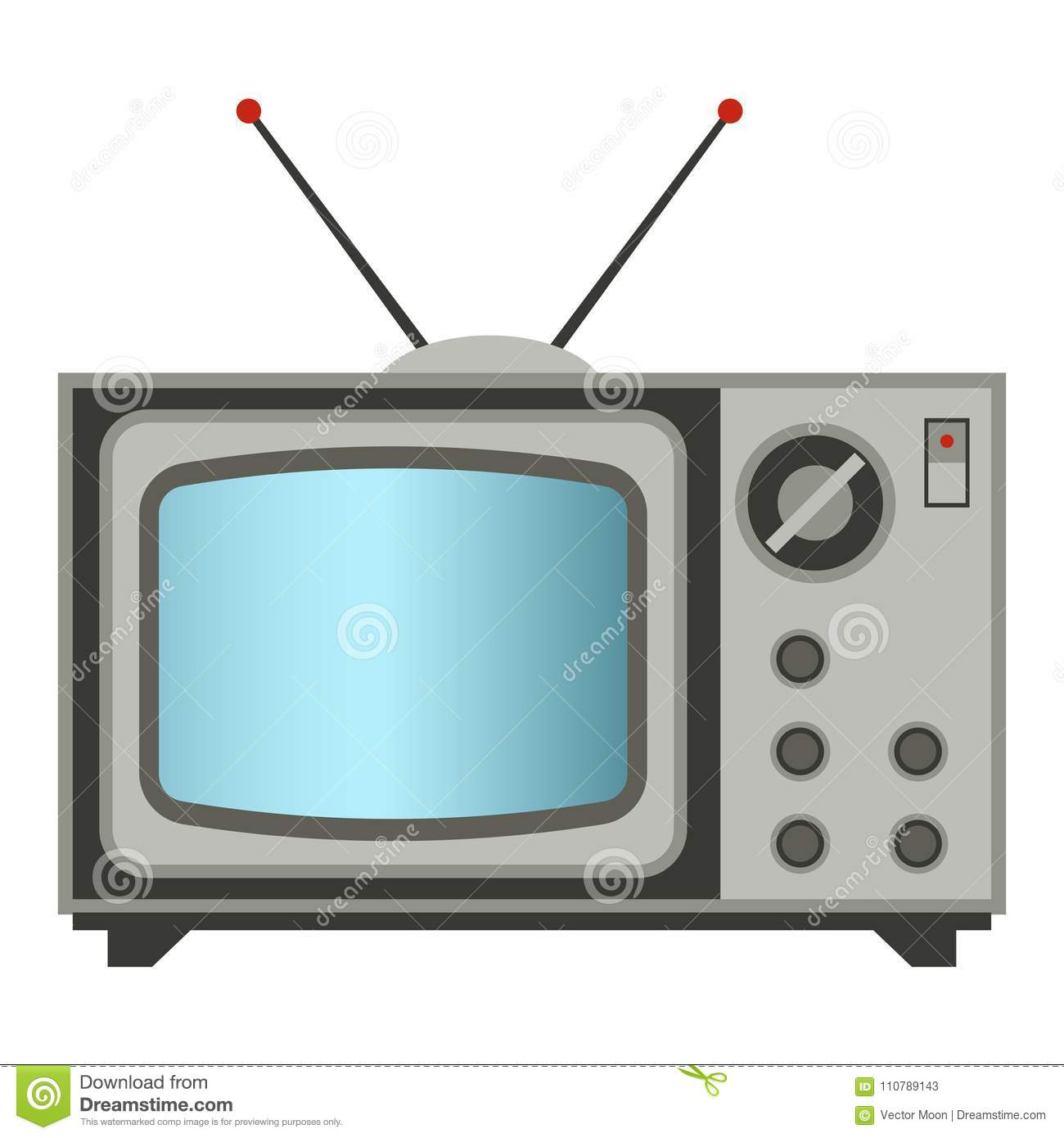 retro tv vector old classic antique technology business personal equipment and vintage television desktop hardware
