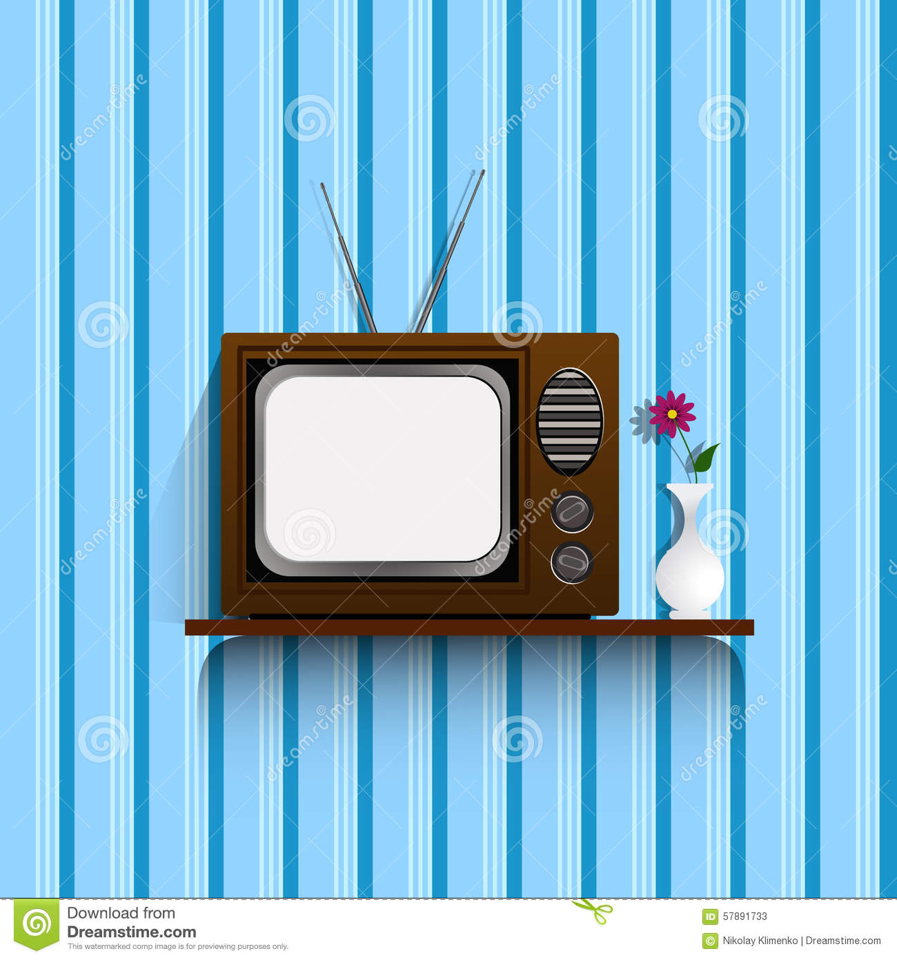 Retro Tv With Vintage Wallpaper.eps 10. Stock Vector - Image: 57891733