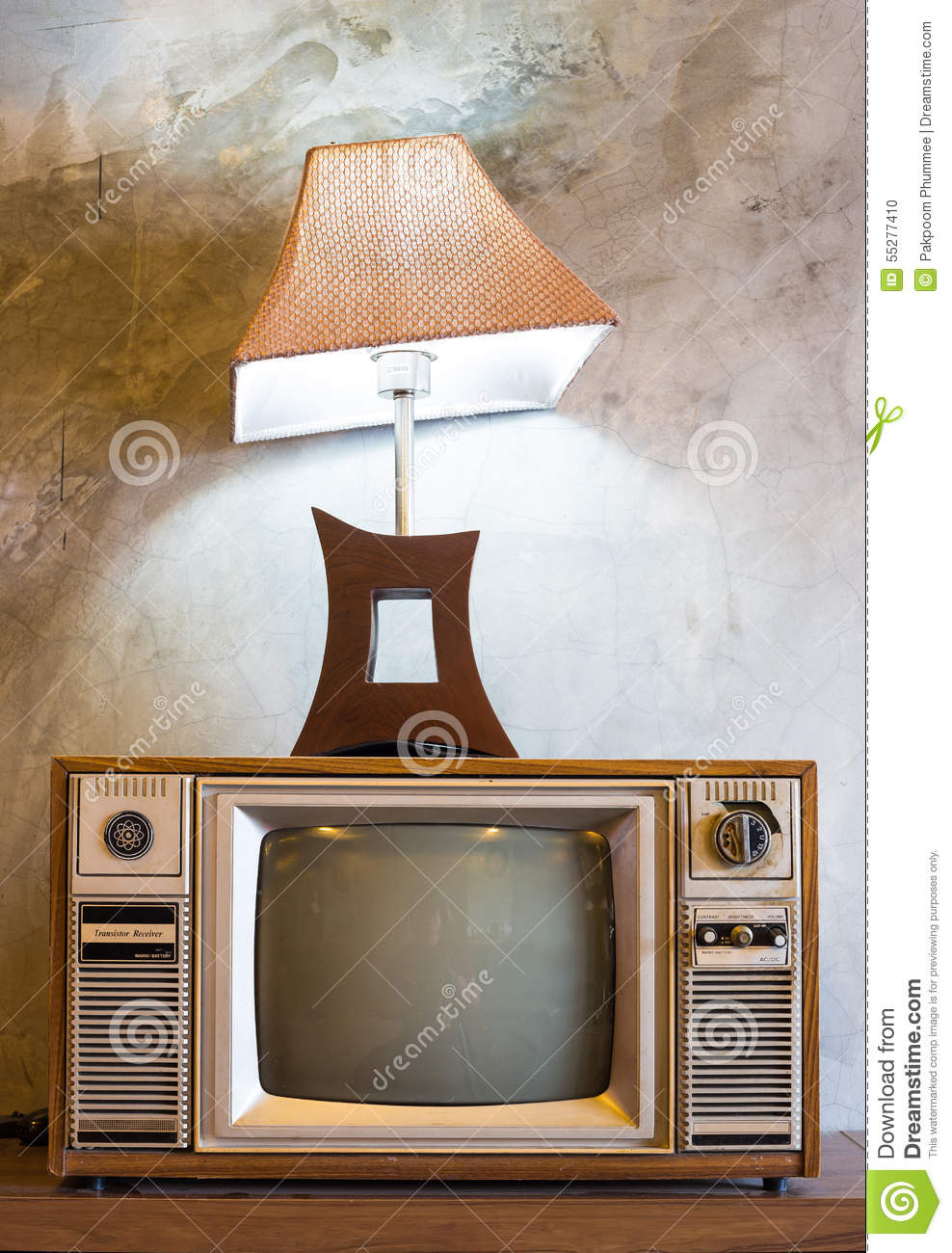 Retro Tv With Wooden Case And Lantern In Room Vintage Wallpaper