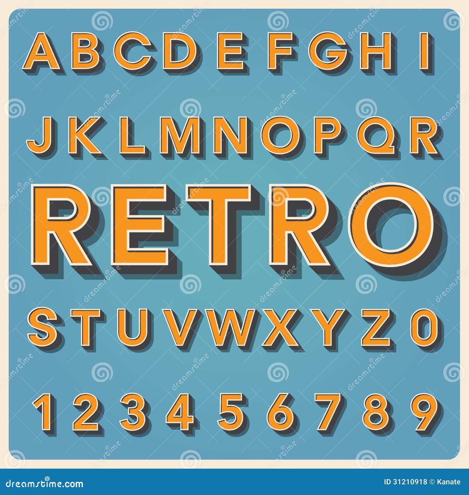 Retro Type Font, Vintage Typography . Stock Vector