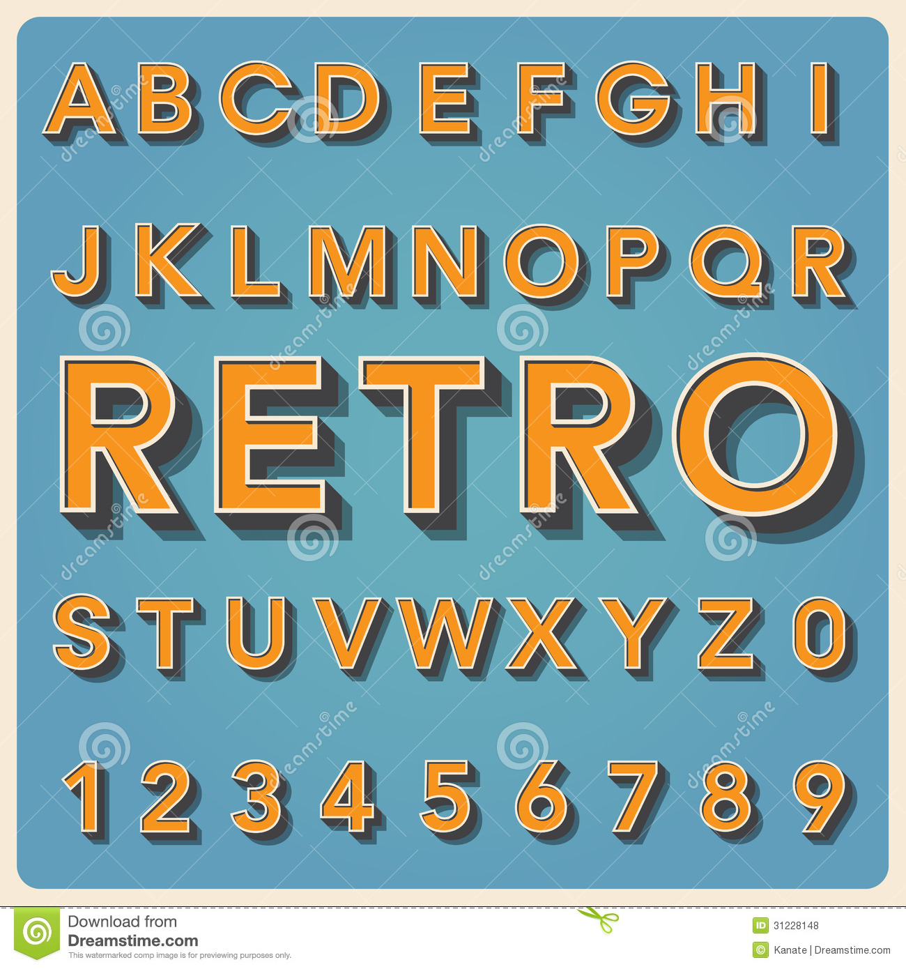 Retro Type Font, Vintage Typography . Royalty Free Stock Photos ...