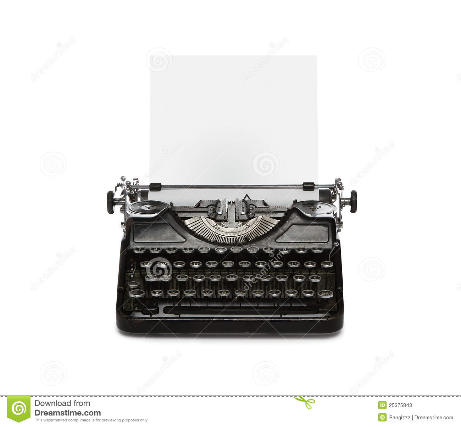 Retro Typewriter With Paper Sheet Stock Photos Image