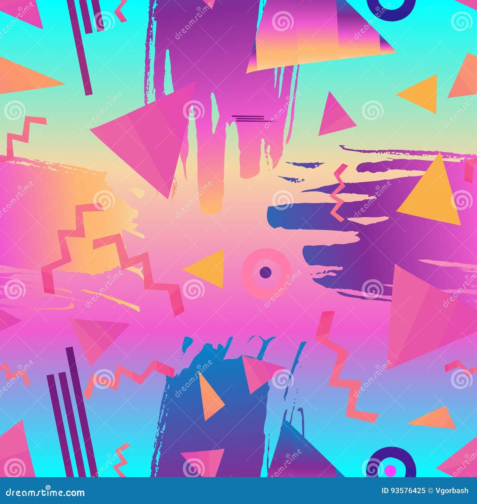 Retro uitstekende de jaren  80 of jaren  90 abstracte naadloze patroon van de manierstijl